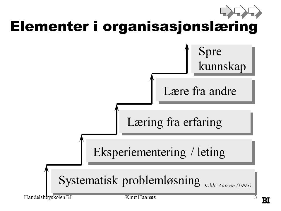Handelshøyskolen BIKnut Haanæs3 Systematisk problemløsning Eksperiementering / leting Læring fra erfaring Lære fra andre Spre kunnskap Elementer i organisasjonslæring Kilde: Garvin (1993)