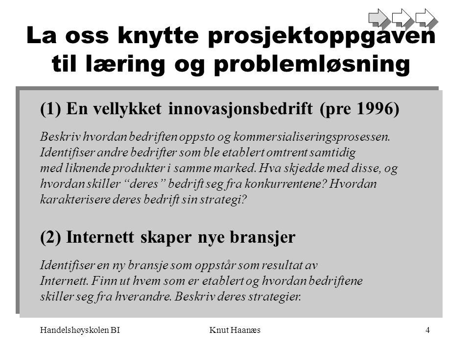 Handelshøyskolen BIKnut Haanæs4 La oss knytte prosjektoppgaven til læring og problemløsning (1) En vellykket innovasjonsbedrift (pre 1996) Beskriv hvordan bedriften oppsto og kommersialiseringsprosessen.