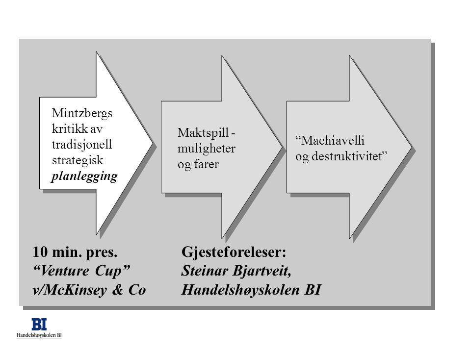 Gjesteforeleser: Steinar Bjartveit, Handelshøyskolen BI Maktspill - muligheter og farer Machiavelli og destruktivitet Mintzbergs kritikk av tradisjonell strategisk planlegging 10 min.