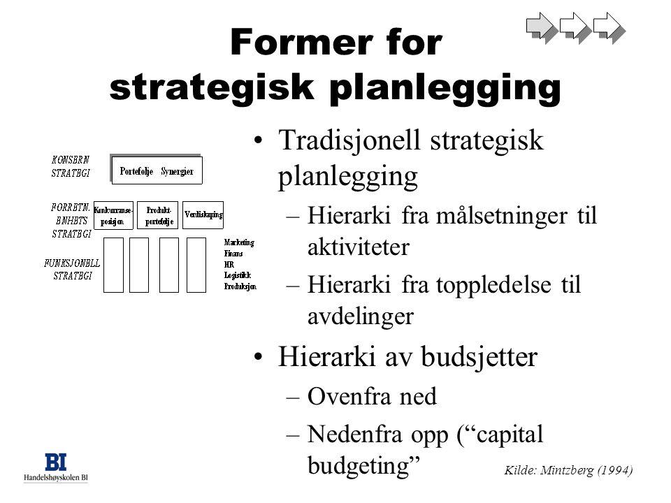 Former for strategisk planlegging Tradisjonell strategisk planlegging –Hierarki fra målsetninger til aktiviteter –Hierarki fra toppledelse til avdelinger Hierarki av budsjetter –Ovenfra ned –Nedenfra opp ( capital budgeting Kilde: Mintzberg (1994)
