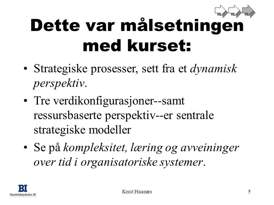 Knut Haanæs5 Dette var målsetningen med kurset: Strategiske prosesser, sett fra et dynamisk perspektiv. Tre verdikonfigurasjoner--samt ressursbaserte