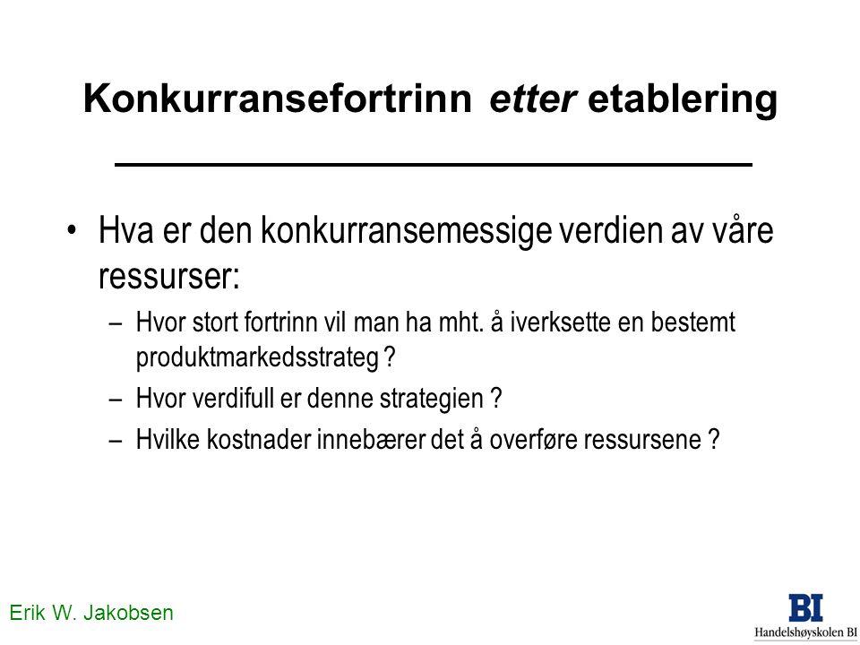 Erik W. Jakobsen Konkurransefortrinn etter etablering Hva er den konkurransemessige verdien av våre ressurser: –Hvor stort fortrinn vil man ha mht. å