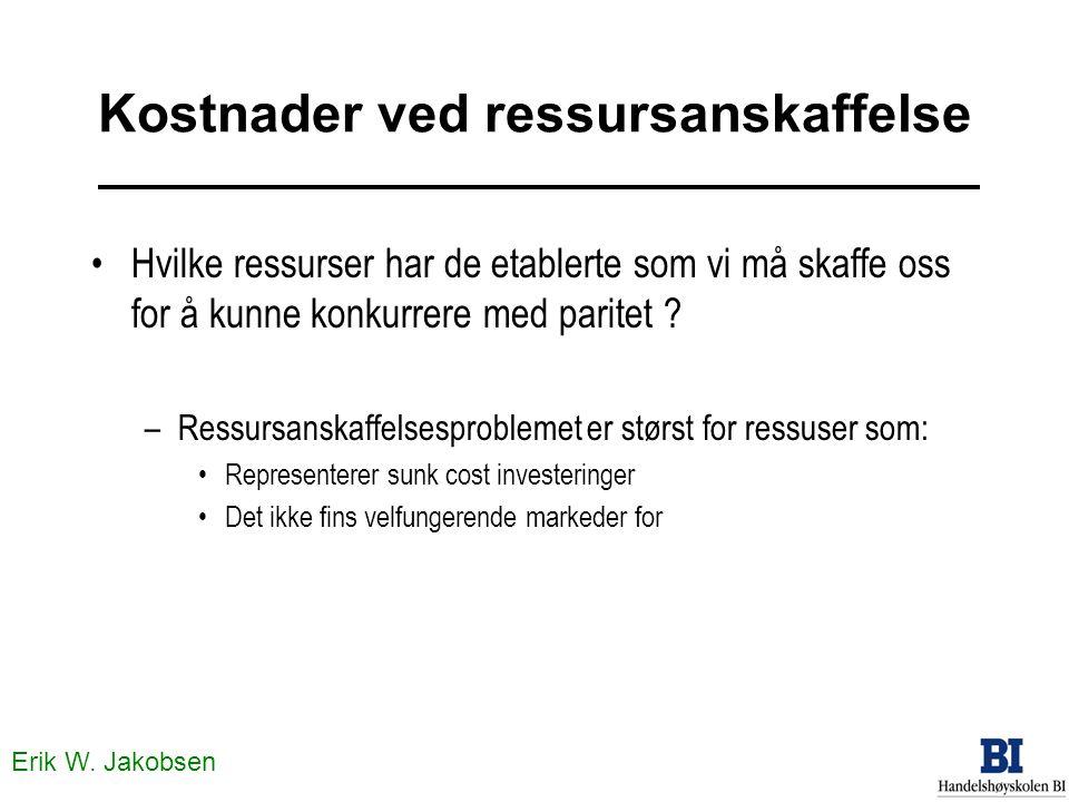 Erik W. Jakobsen Kostnader ved ressursanskaffelse Hvilke ressurser har de etablerte som vi må skaffe oss for å kunne konkurrere med paritet ? –Ressurs