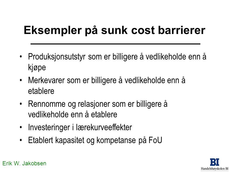 Erik W. Jakobsen Eksempler på sunk cost barrierer Produksjonsutstyr som er billigere å vedlikeholde enn å kjøpe Merkevarer som er billigere å vedlikeh