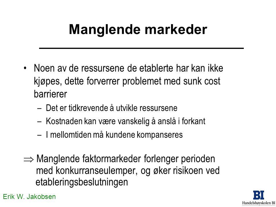 Erik W. Jakobsen Manglende markeder Noen av de ressursene de etablerte har kan ikke kjøpes, dette forverrer problemet med sunk cost barrierer –Det er
