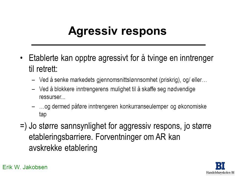 Erik W. Jakobsen Agressiv respons Etablerte kan opptre agressivt for å tvinge en inntrenger til retrett: –Ved å senke markedets gjennomsnittslønnsomhe