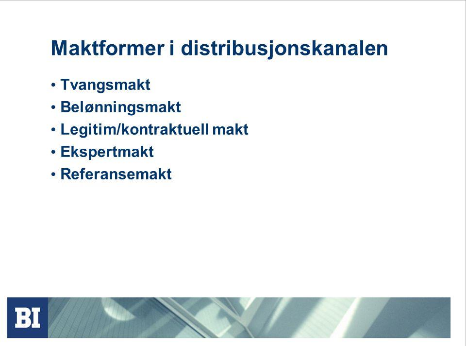 Eksklusiv distribusjon BMW Selektiv distribusjon Eks. Alessi Intensiv distribusjon Coca Cola Alternative designløsninger: