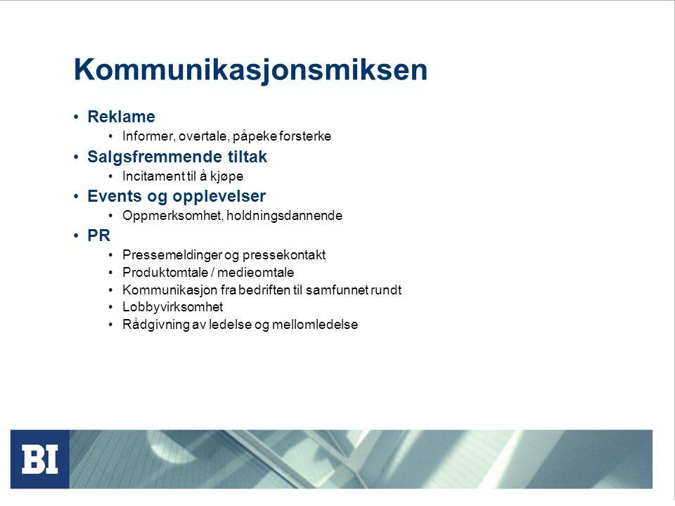 Sentrale deler av pensum økt 10 (kap. 17, 18 og 19) Kommunikasjonsmiksen IMC og merkevarer Kommunikasjonsprosessen