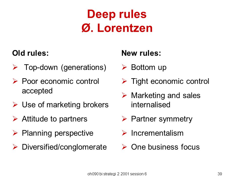 oh090 bi strategi 2 2001 session 639 Deep rules Ø. Lorentzen Old rules:  Top-down (generations)  Poor economic control accepted  Use of marketing b