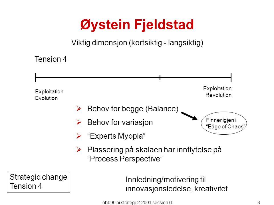 """oh090 bi strategi 2 2001 session 68 Øystein Fjeldstad  Behov for begge (Balance)  Behov for variasjon  """"Experts Myopia""""  Plassering på skalaen har"""