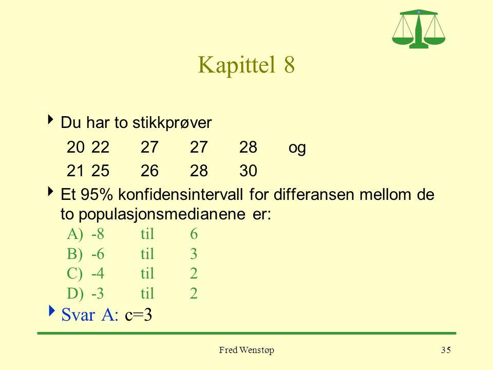 Fred Wenstøp35 Kapittel 8  Du har to stikkprøver 20 22 27 27 28 og 2125262830  Et 95% konfidensintervall for differansen mellom de to populasjonsmed