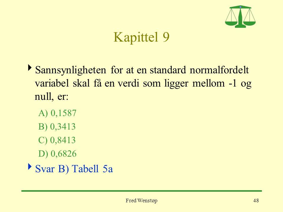 Fred Wenstøp48 Kapittel 9  Sannsynligheten for at en standard normalfordelt variabel skal få en verdi som ligger mellom -1 og null, er: A) 0,1587 B)