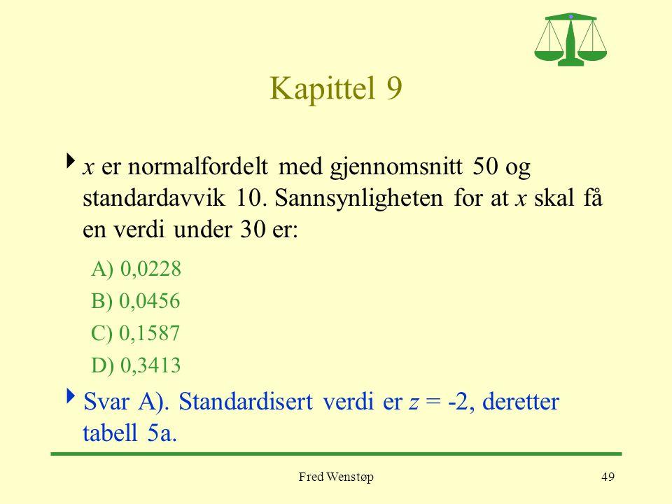 Fred Wenstøp49 Kapittel 9  x er normalfordelt med gjennomsnitt 50 og standardavvik 10. Sannsynligheten for at x skal få en verdi under 30 er: A) 0,02