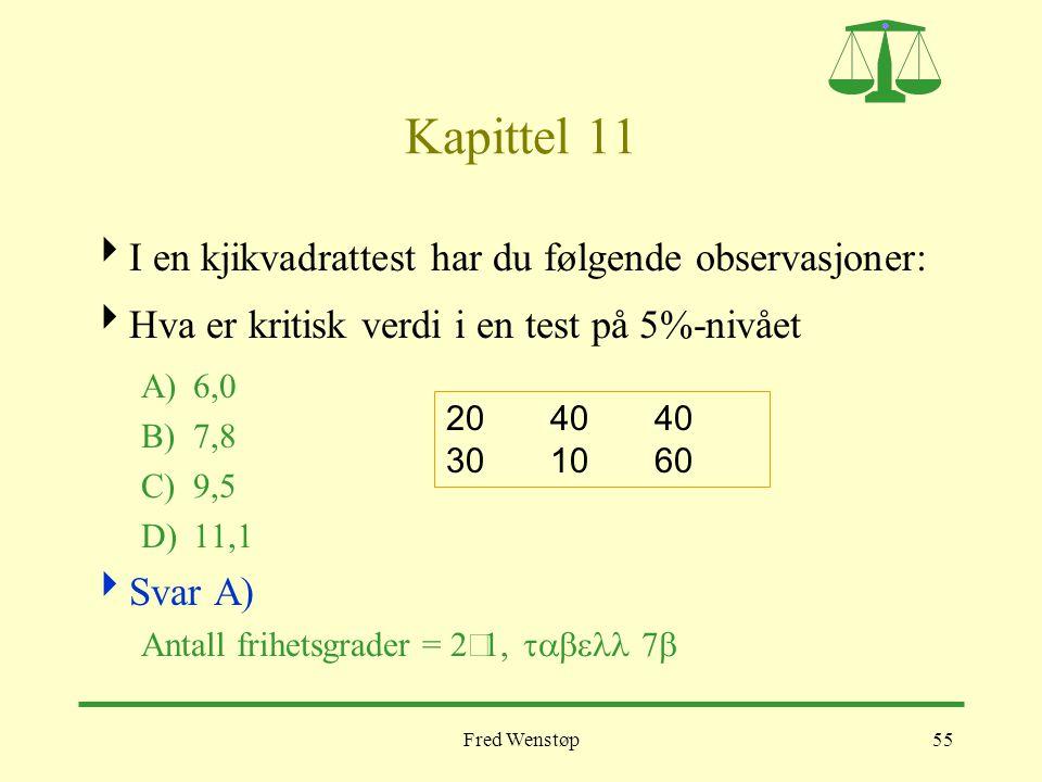 Fred Wenstøp55 Kapittel 11  I en kjikvadrattest har du følgende observasjoner:  Hva er kritisk verdi i en test på 5%-nivået A)6,0 B)7,8 C)9,5 D)11,1