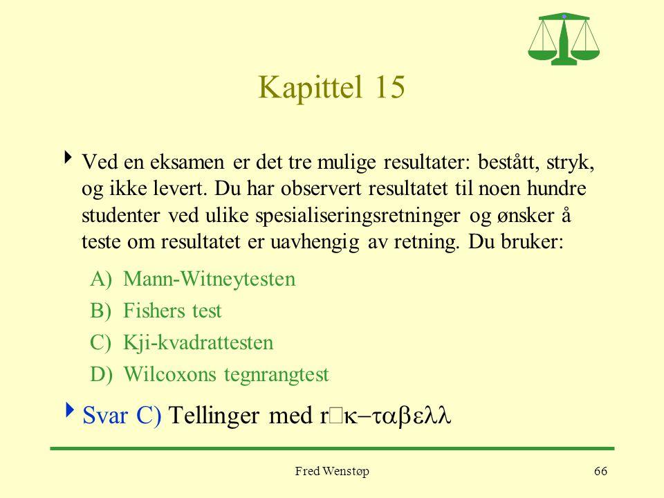 Fred Wenstøp66 Kapittel 15  Ved en eksamen er det tre mulige resultater: bestått, stryk, og ikke levert. Du har observert resultatet til noen hundre