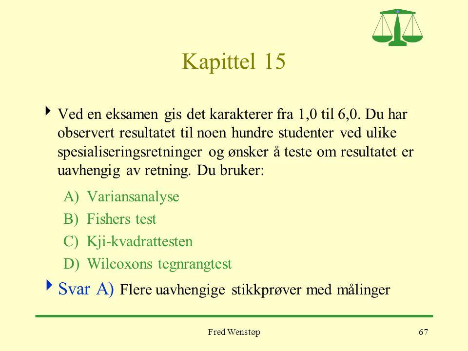 Fred Wenstøp67 Kapittel 15  Ved en eksamen gis det karakterer fra 1,0 til 6,0. Du har observert resultatet til noen hundre studenter ved ulike spesia
