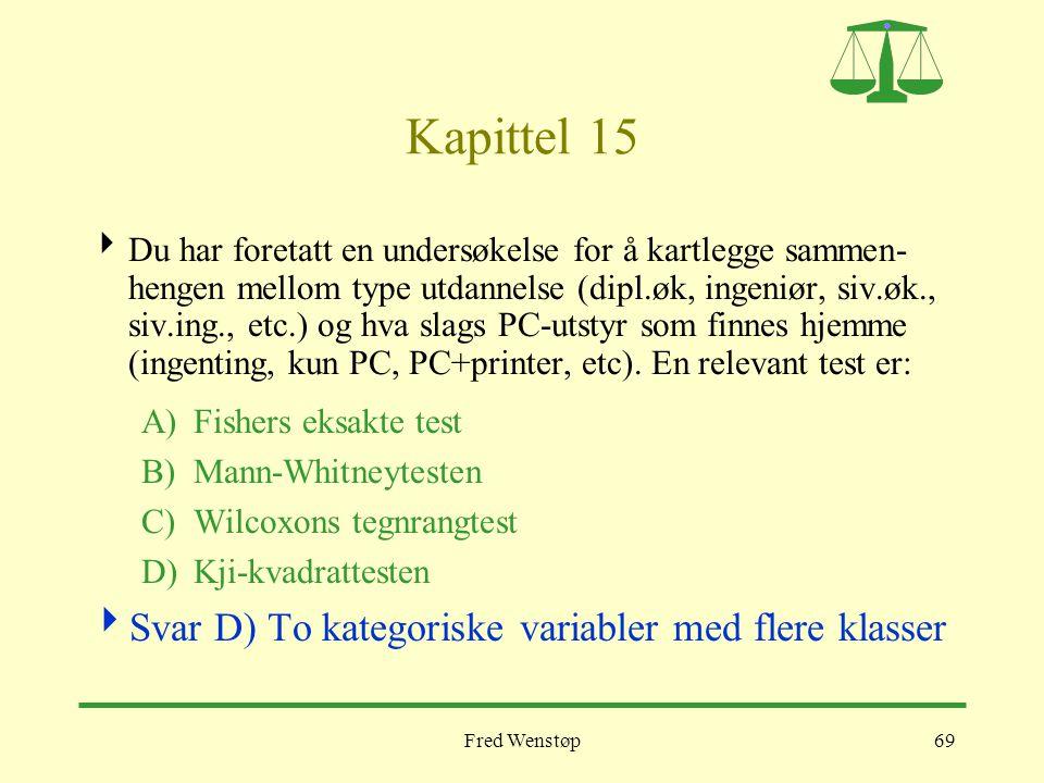 Fred Wenstøp69 Kapittel 15  Du har foretatt en undersøkelse for å kartlegge sammen- hengen mellom type utdannelse (dipl.øk, ingeniør, siv.øk., siv.in