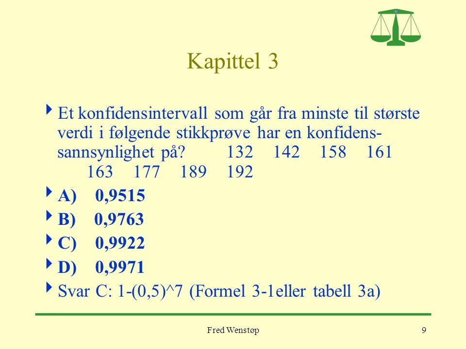 Fred Wenstøp9 Kapittel 3  Et konfidensintervall som går fra minste til største verdi i følgende stikkprøve har en konfidens- sannsynlighet på? 132142