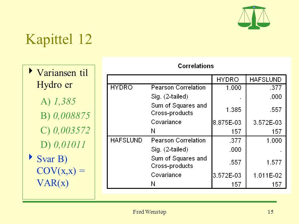 Fred Wenstøp15 Kapittel 12  Variansen til Hydro er A) 1,385 B) 0,008875 C) 0,003572 D) 0,01011  Svar B) COV(x,x) = VAR(x)