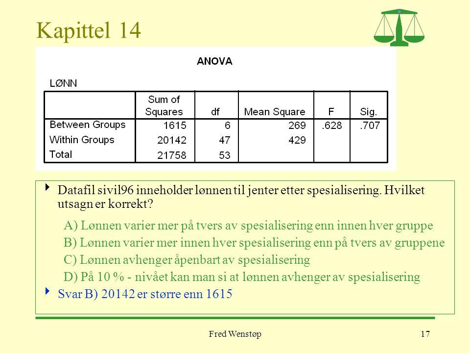 Fred Wenstøp17 Kapittel 14  Datafil sivil96 inneholder lønnen til jenter etter spesialisering. Hvilket utsagn er korrekt? A) Lønnen varier mer på tve
