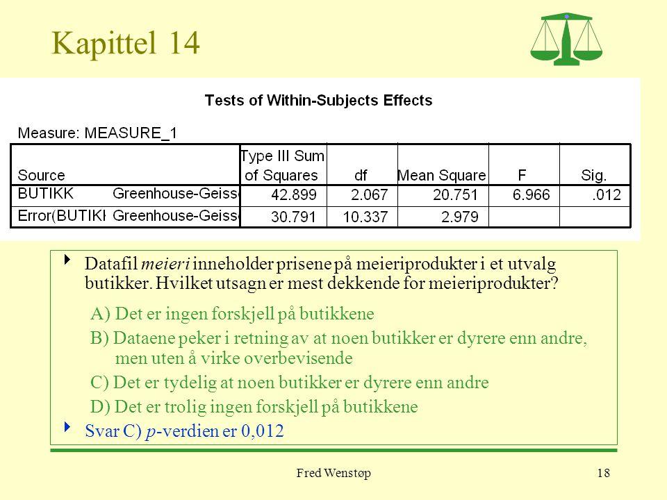 Fred Wenstøp18 Kapittel 14  Datafil meieri inneholder prisene på meieriprodukter i et utvalg butikker. Hvilket utsagn er mest dekkende for meieriprod