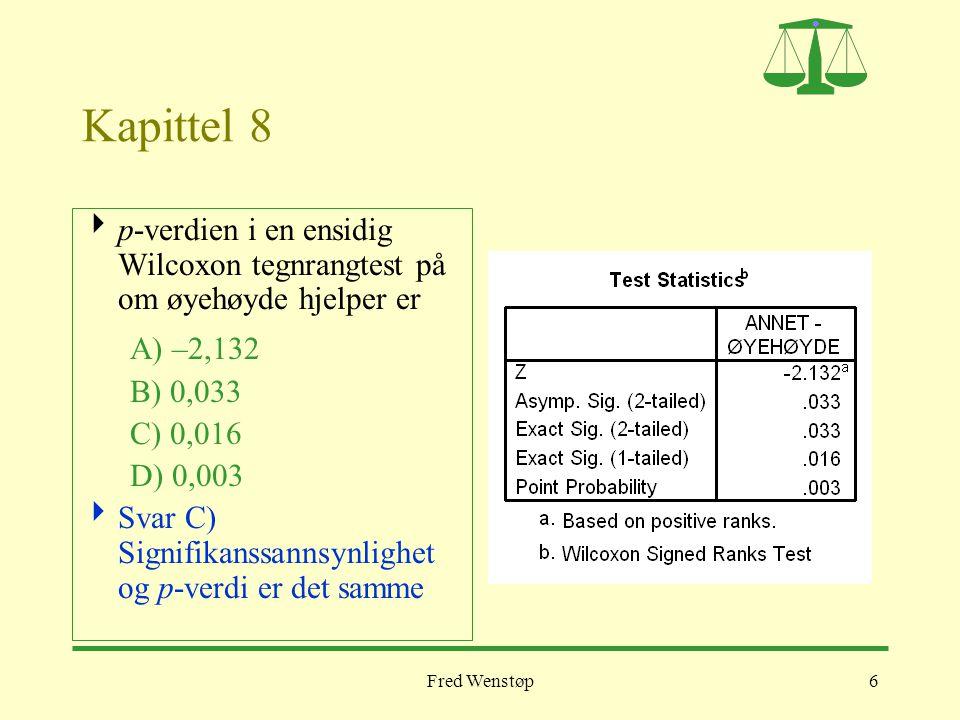 Fred Wenstøp6 Kapittel 8  p-verdien i en ensidig Wilcoxon tegnrangtest på om øyehøyde hjelper er A) –2,132 B) 0,033 C) 0,016 D) 0,003  Svar C) Signi