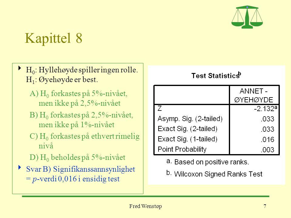 Fred Wenstøp8 Kapittel 8  Testobservators verdi i en tosidig Mann-Whitneytest er A) 77,5 B) 908,5 C) –2,0 D) 0,45  Svar A) Dette er det minste Mann- Whitneytallet.