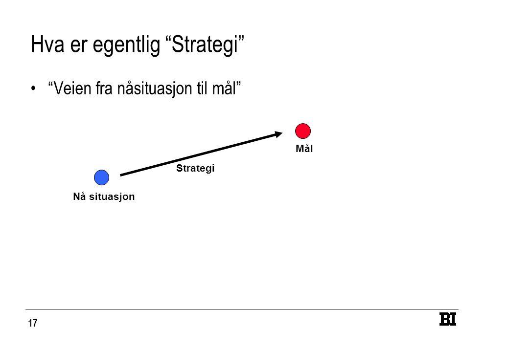 17 Hva er egentlig Strategi Veien fra nåsituasjon til mål Nå situasjon Mål Strategi