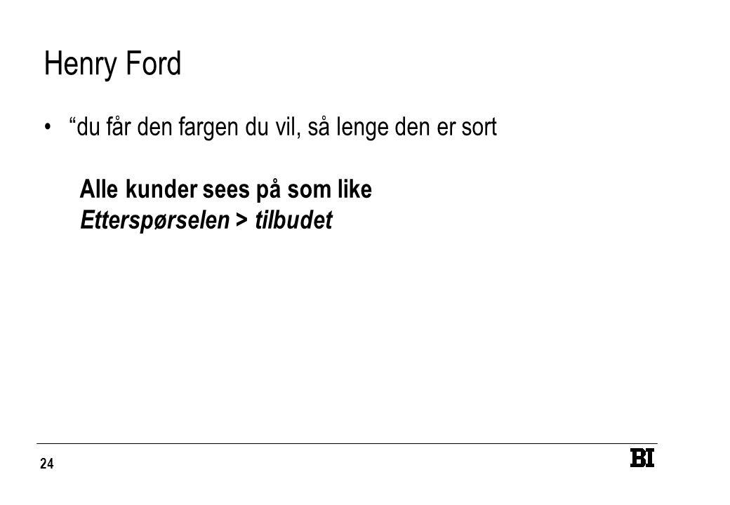 """24 Henry Ford """"du får den fargen du vil, så lenge den er sort Alle kunder sees på som like Etterspørselen > tilbudet"""