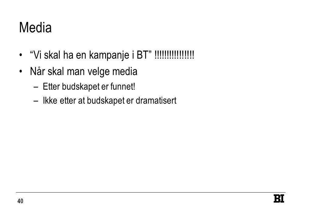 """40 Media """"Vi skal ha en kampanje i BT"""" !!!!!!!!!!!!!!!! Når skal man velge media –Etter budskapet er funnet! –Ikke etter at budskapet er dramatisert"""