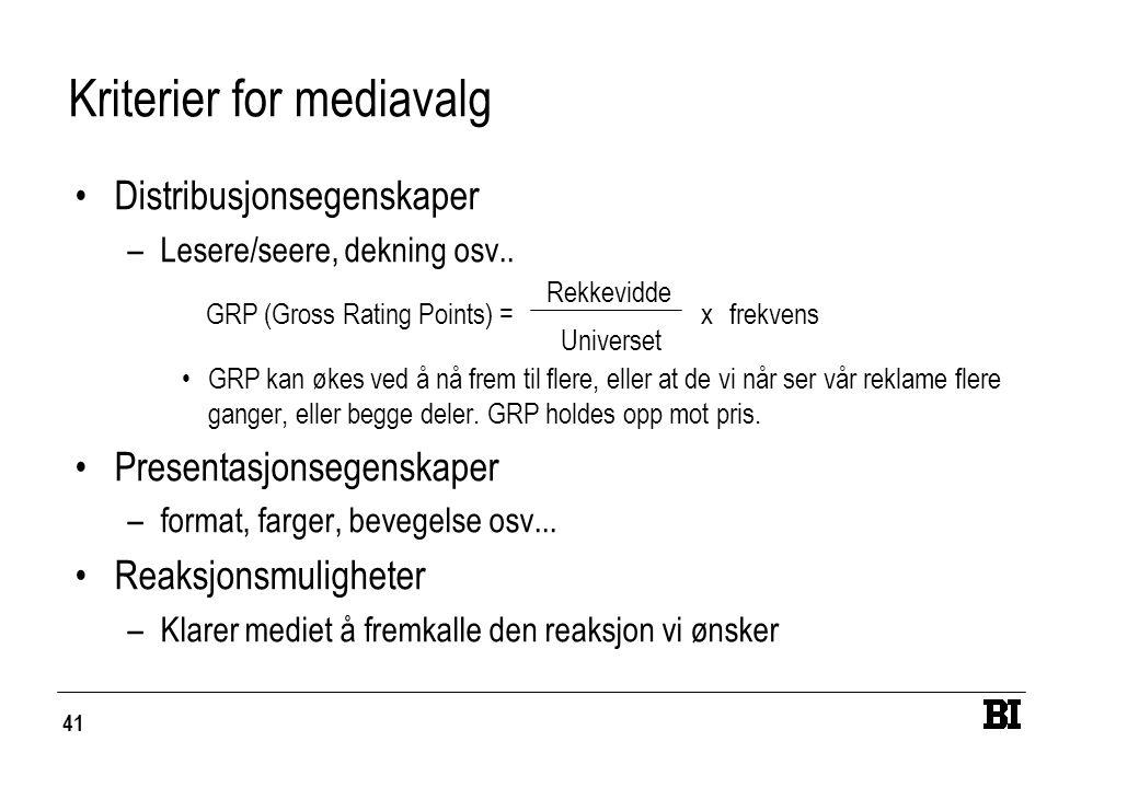 41 Kriterier for mediavalg Distribusjonsegenskaper –Lesere/seere, dekning osv.. GRP kan økes ved å nå frem til flere, eller at de vi når ser vår rekla