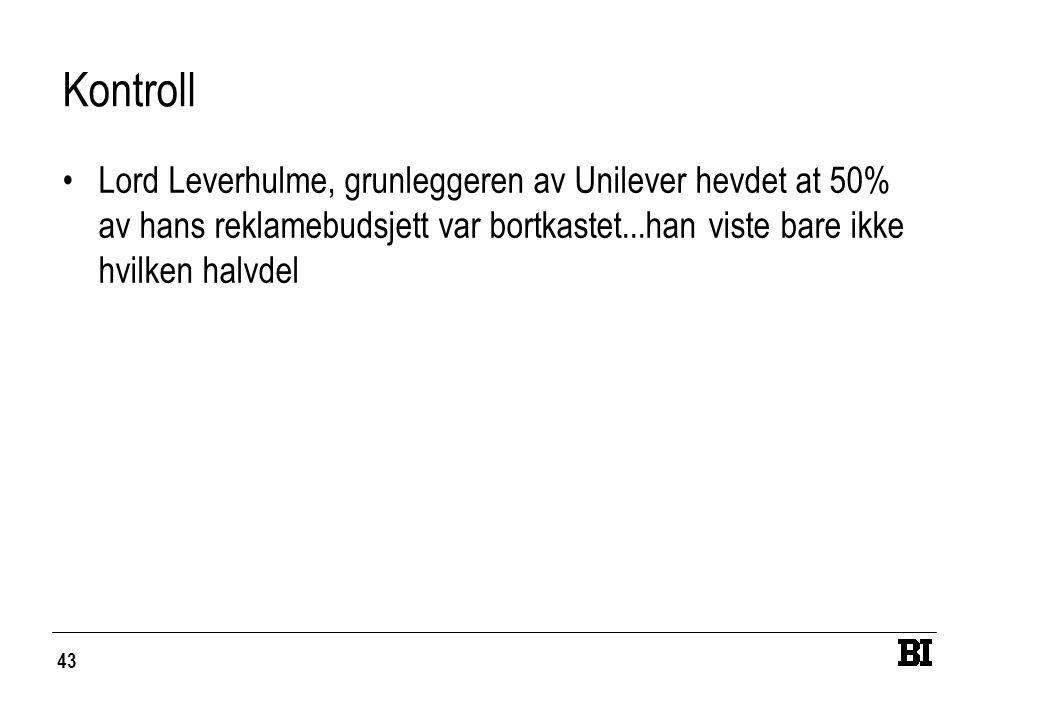 43 Kontroll Lord Leverhulme, grunleggeren av Unilever hevdet at 50% av hans reklamebudsjett var bortkastet...han viste bare ikke hvilken halvdel