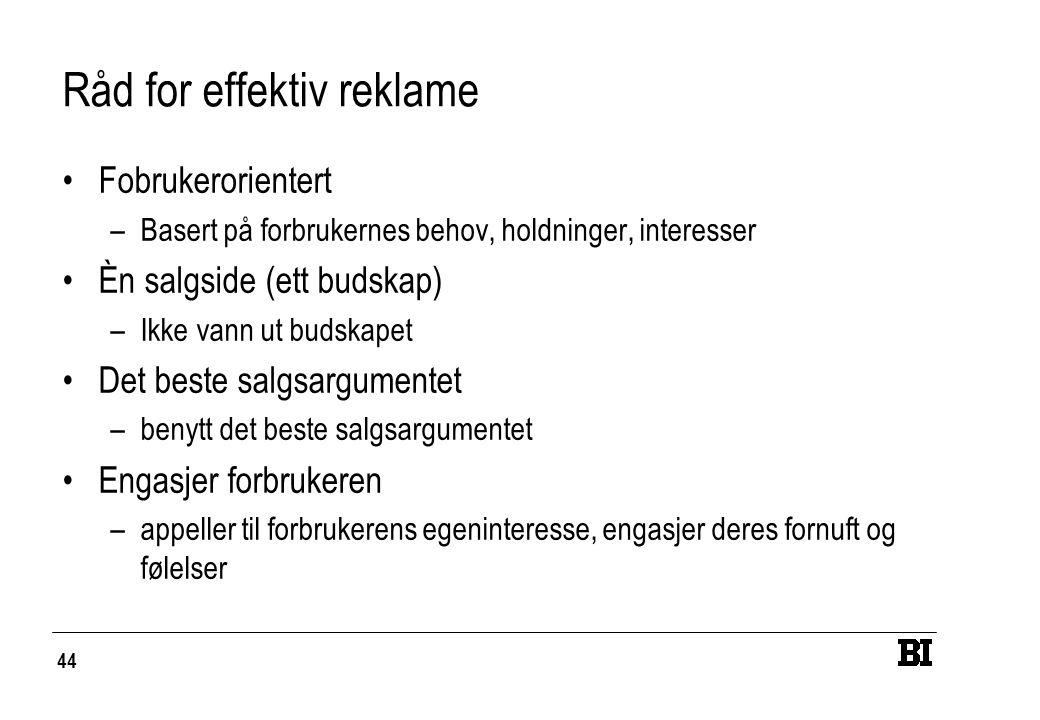 44 Råd for effektiv reklame Fobrukerorientert –Basert på forbrukernes behov, holdninger, interesser Èn salgside (ett budskap) –Ikke vann ut budskapet