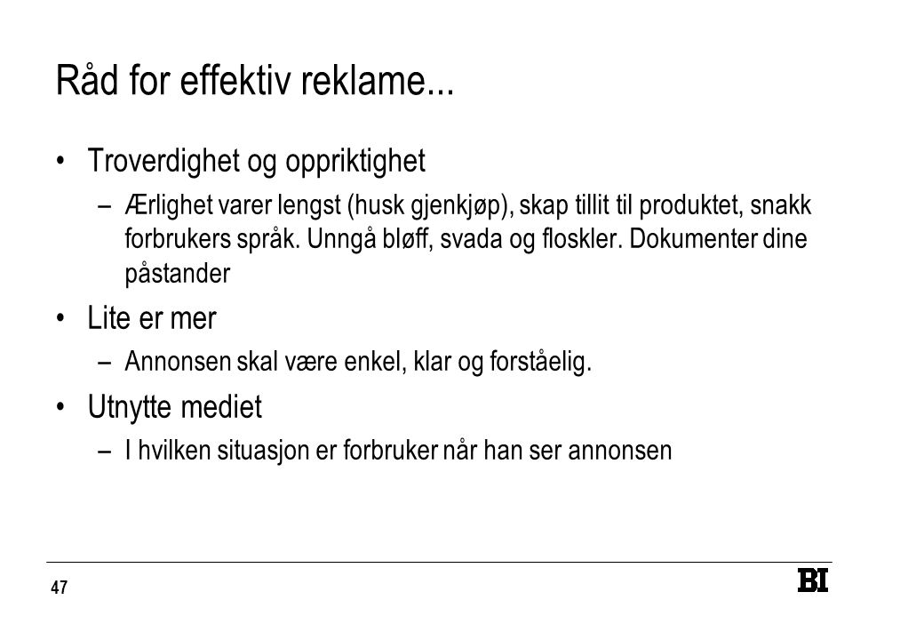 47 Råd for effektiv reklame...