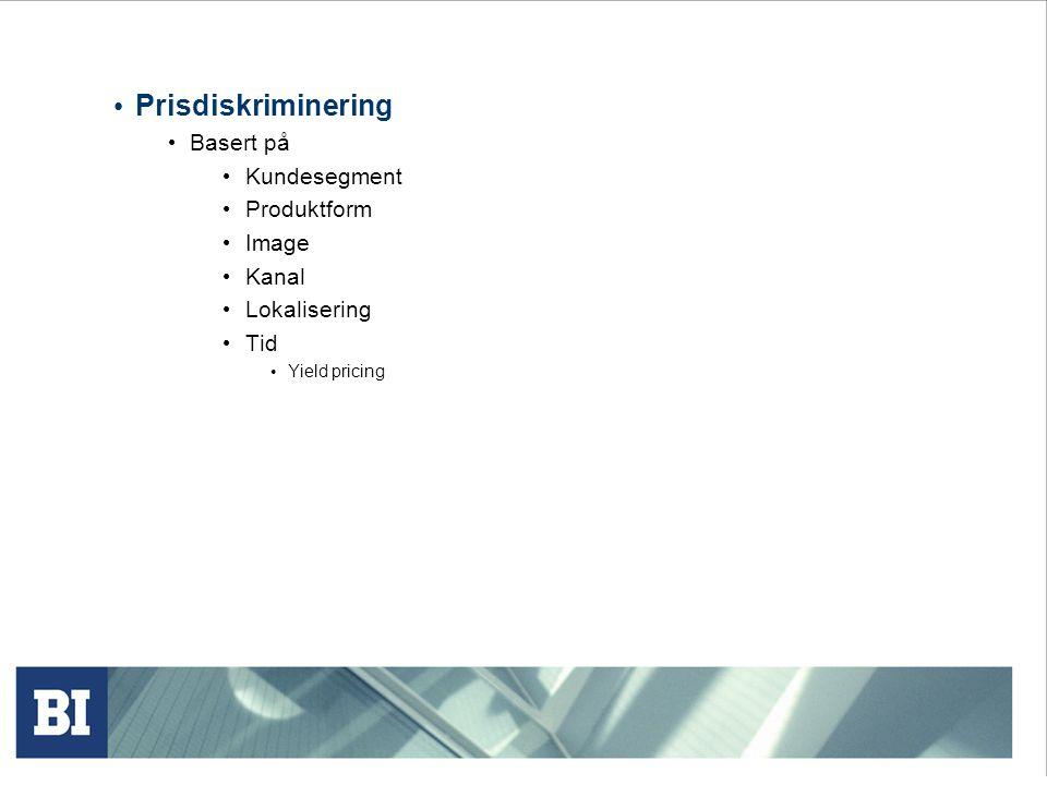 Prisdiskriminering Basert på Kundesegment Produktform Image Kanal Lokalisering Tid Yield pricing
