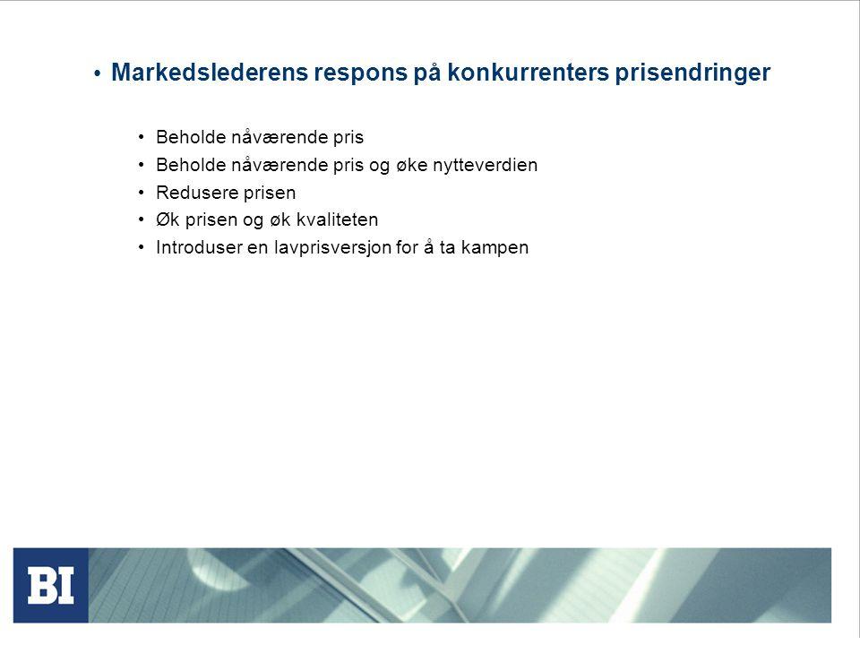 Markedslederens respons på konkurrenters prisendringer Beholde nåværende pris Beholde nåværende pris og øke nytteverdien Redusere prisen Øk prisen og