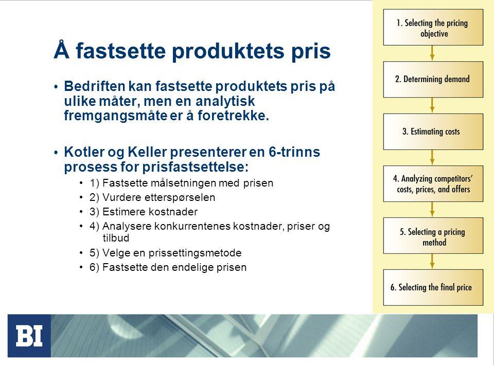 1) Fastsette målsetningen med prisen Bedriften kan ha 5 ulike mål for prissettingen Overlevelse Profittmaksimering Maksimering av markedsandel Maksimering av markedsskumming Bli ledende på produktkvalitet Imidlertid viktig at nytteverdien gjenspeiles i prisen