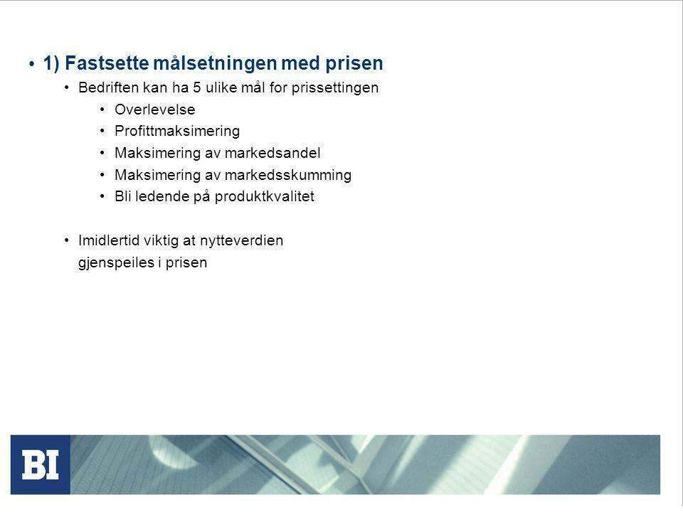 Prissetting basert på produktmiksen Denne formen for prisvurderinger er særdeles viktig, og har ulike aspekter: Prisvurderinger ift.