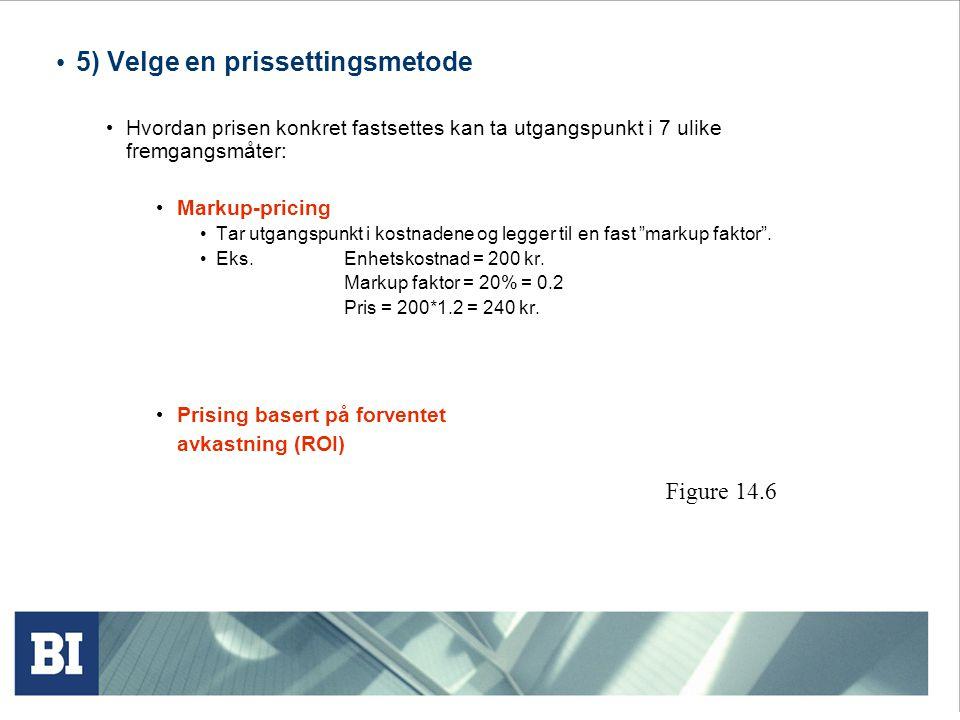 5) Velge en prissettingsmetode Hvordan prisen konkret fastsettes kan ta utgangspunkt i 7 ulike fremgangsmåter: Markup-pricing Tar utgangspunkt i kostn
