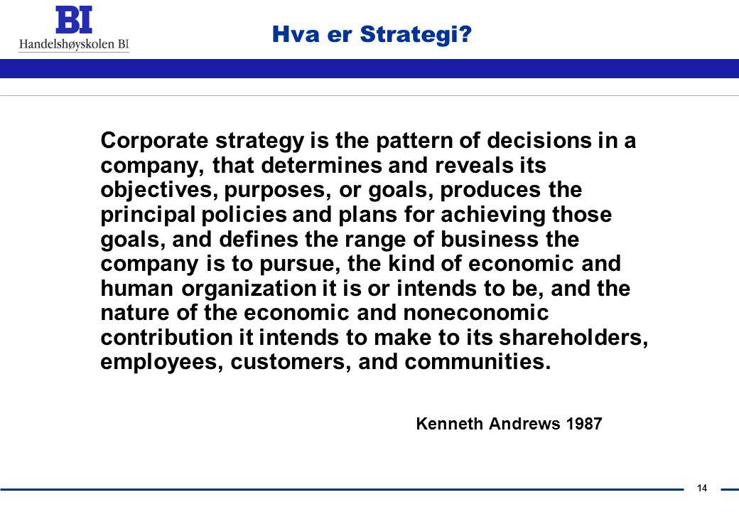 13 3. Introduksjon til Strategi-Faget Ekstern og Intern analyse Evaluering av strategiske valg og alternativer Implementering og kontroll Formulering