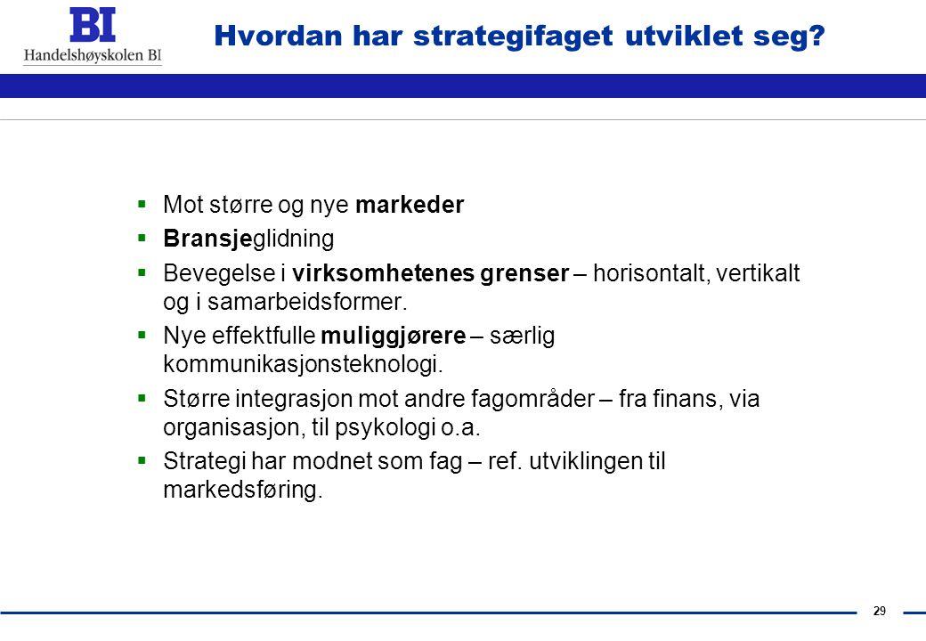 28 Hvordan har strategifaget utviklet seg? Strategifaget gjenspeiler forholdene i forretningslivet.  Fra strukturert til ustrukturert til……?  Fra pr