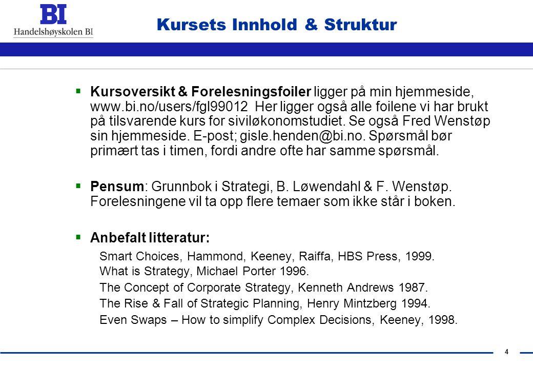 4 Kursets Innhold & Struktur  Kursoversikt & Forelesningsfoiler ligger på min hjemmeside, www.bi.no/users/fgl99012 Her ligger også alle foilene vi har brukt på tilsvarende kurs for siviløkonomstudiet.