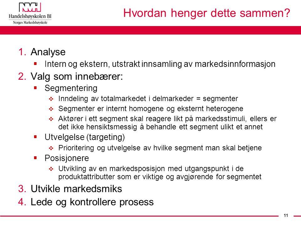 11 Hvordan henger dette sammen? 1.Analyse  Intern og ekstern, utstrakt innsamling av markedsinnformasjon 2.Valg som innebærer:  Segmentering  Innde