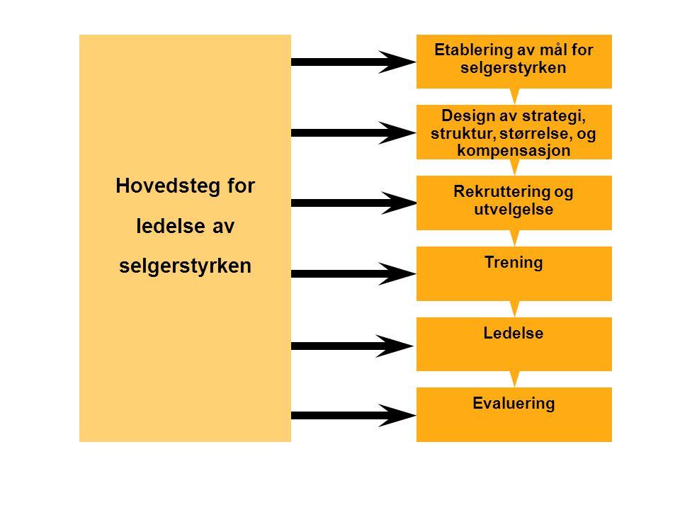 Etablering av mål for selgerstyrken Design av strategi, struktur, størrelse, og kompensasjon Rekruttering og utvelgelse Trening Ledelse Evaluering Hov