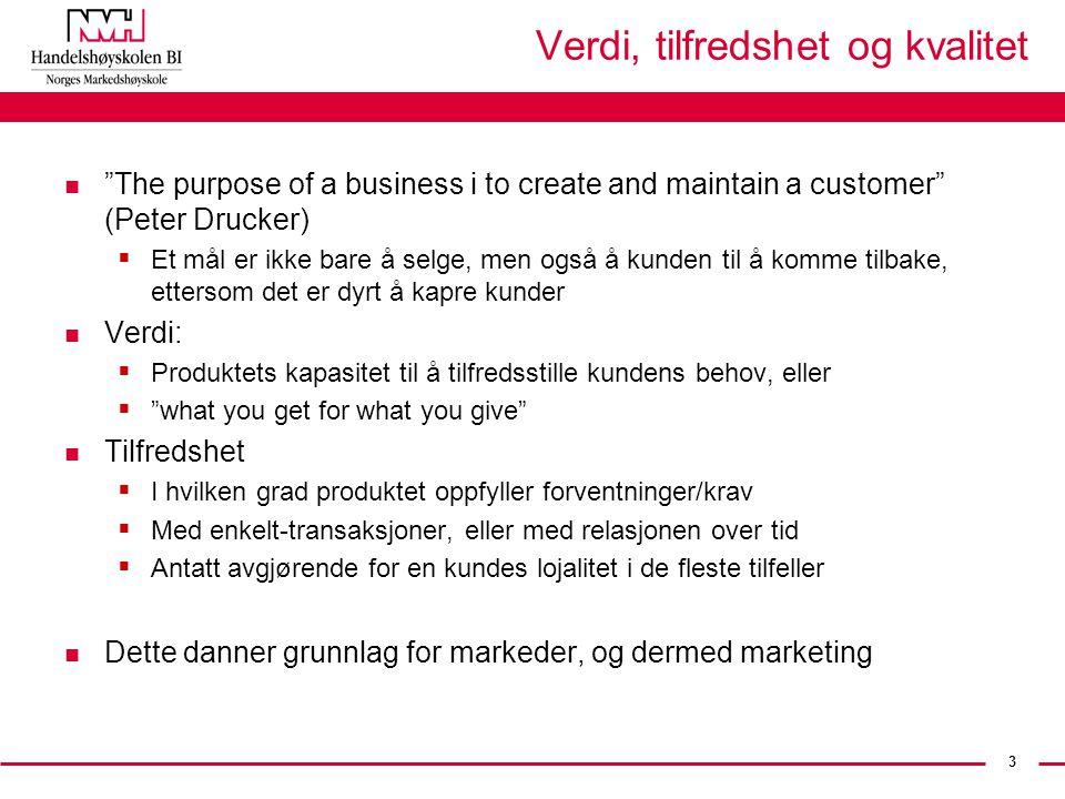 """3 Verdi, tilfredshet og kvalitet n """"The purpose of a business i to create and maintain a customer"""" (Peter Drucker)  Et mål er ikke bare å selge, men"""