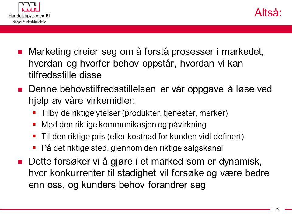 6 Altså: n Marketing dreier seg om å forstå prosesser i markedet, hvordan og hvorfor behov oppstår, hvordan vi kan tilfredsstille disse n Denne behovs