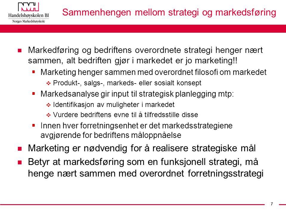 7 Sammenhengen mellom strategi og markedsføring n Markedføring og bedriftens overordnete strategi henger nært sammen, alt bedriften gjør i markedet er