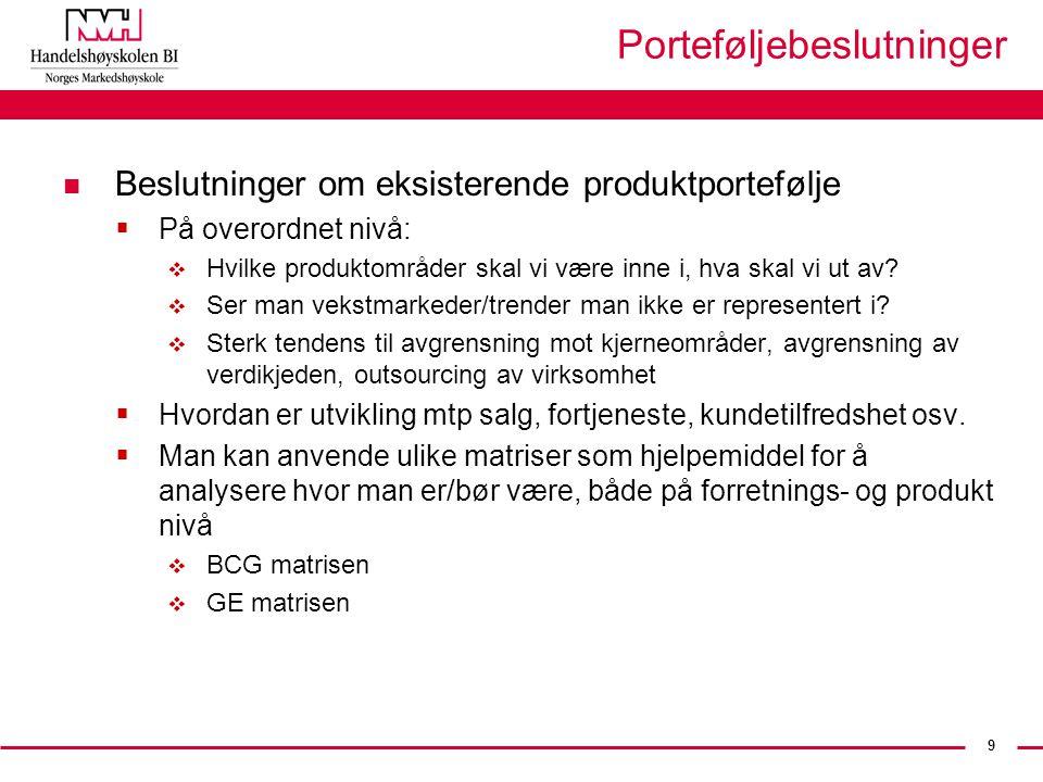9 Porteføljebeslutninger n Beslutninger om eksisterende produktportefølje  På overordnet nivå:  Hvilke produktområder skal vi være inne i, hva skal