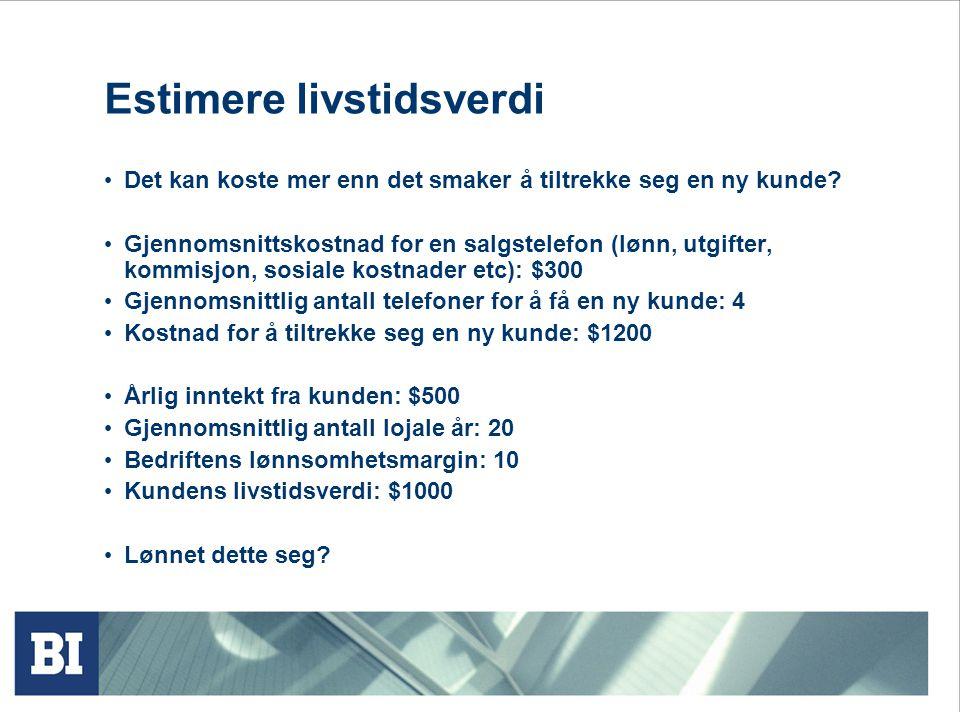 Estimere livstidsverdi Det kan koste mer enn det smaker å tiltrekke seg en ny kunde? Gjennomsnittskostnad for en salgstelefon (lønn, utgifter, kommisj