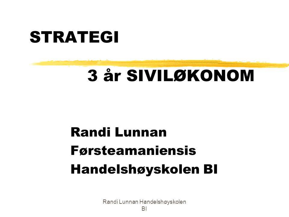 Randi Lunnan Handelshøyskolen BI TEMA I DAG zStrategi sett ut i fra en ung siv.øks perspektiv zSTRATEGI 1: Forventninger/Innhold/ Administrasjon zIntroduksjon til strategi